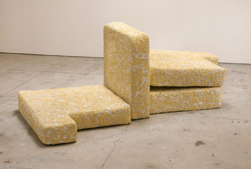Pillows 2013 sculpture by Aaron King cement, lathe, pigment, wood 32''x 96''x 54''