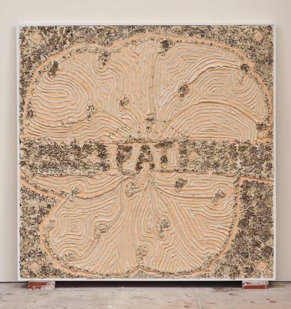 Pat 2013 flatwork by Aaron King cement, lathe, wood, paint 78''x 78''