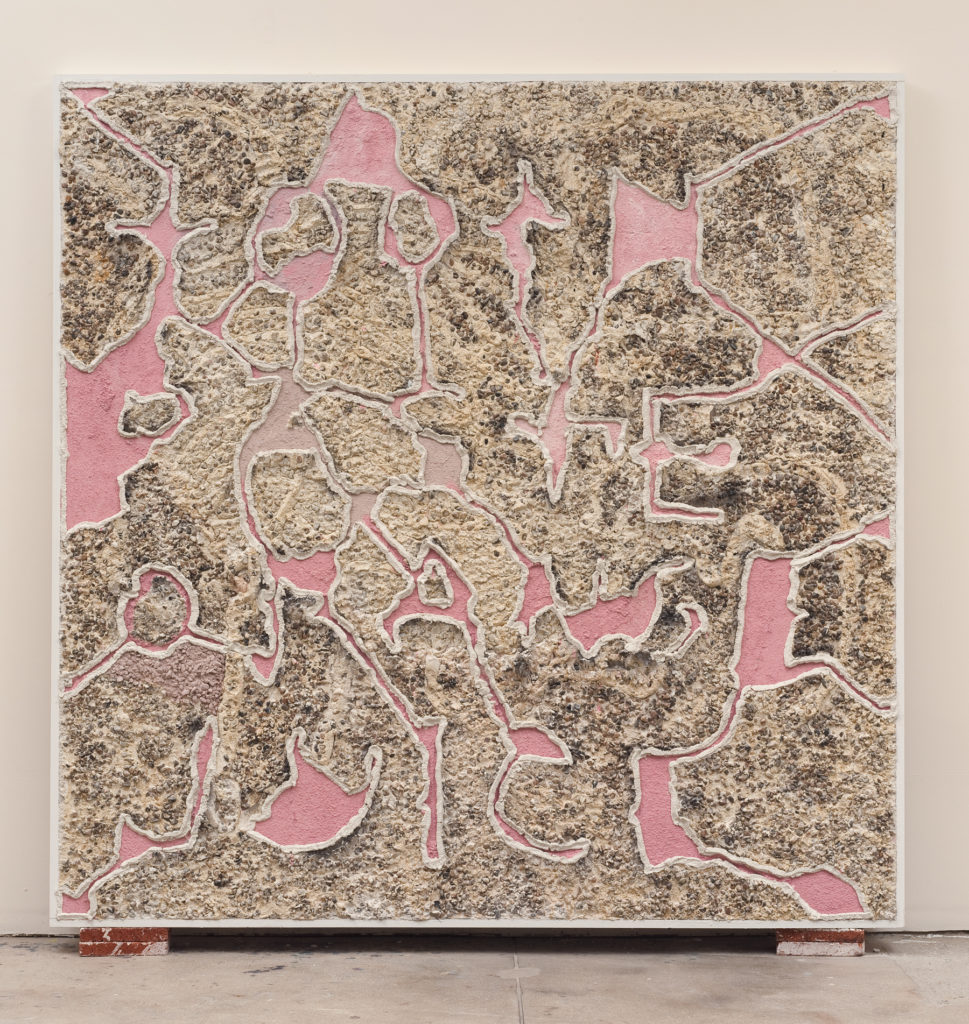 Toothpaste and Orange Juice 2013 flatwork by Aaron King cement, lathe, pebbles, wood 78''x 78''