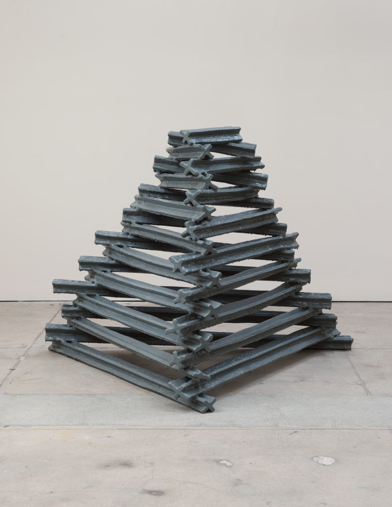 Extruded Form 2013 sculpture by Aaron King wood, aluminum, paint 55''x 54''x 42''