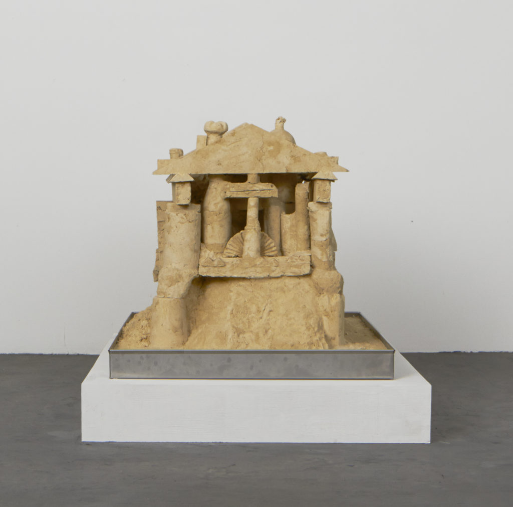 Lot #5 2015 sculpture by Aaron King sand, starch, foam, wood, metal 30'' x 35'' x 30''