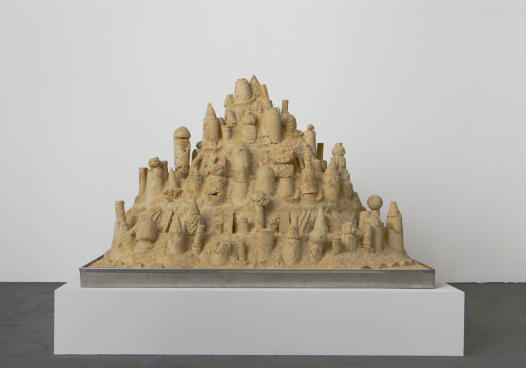 Lot #1 2015 sculpture by Aaron King sand, starch, foam, wood, metal 42'' x 57'' x 48''