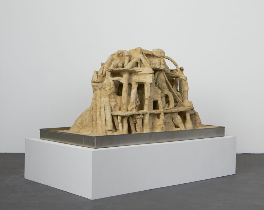 Lot #6 (Hotel Babel) 2016 sculpture by Aaron King sand, starch, foam, wood, metal 29'' x 51'' x 28''