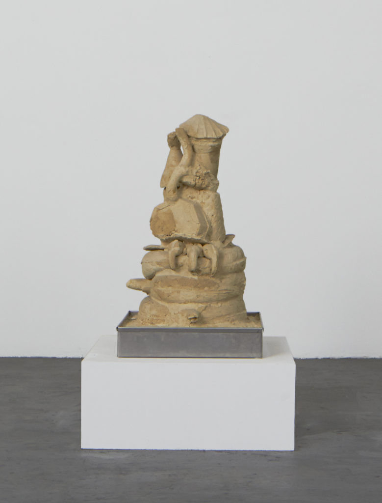 Lot #4 2015 sculpture by Aaron King sand, starch, foam, wood, metal 27'' x 15'' x 15''