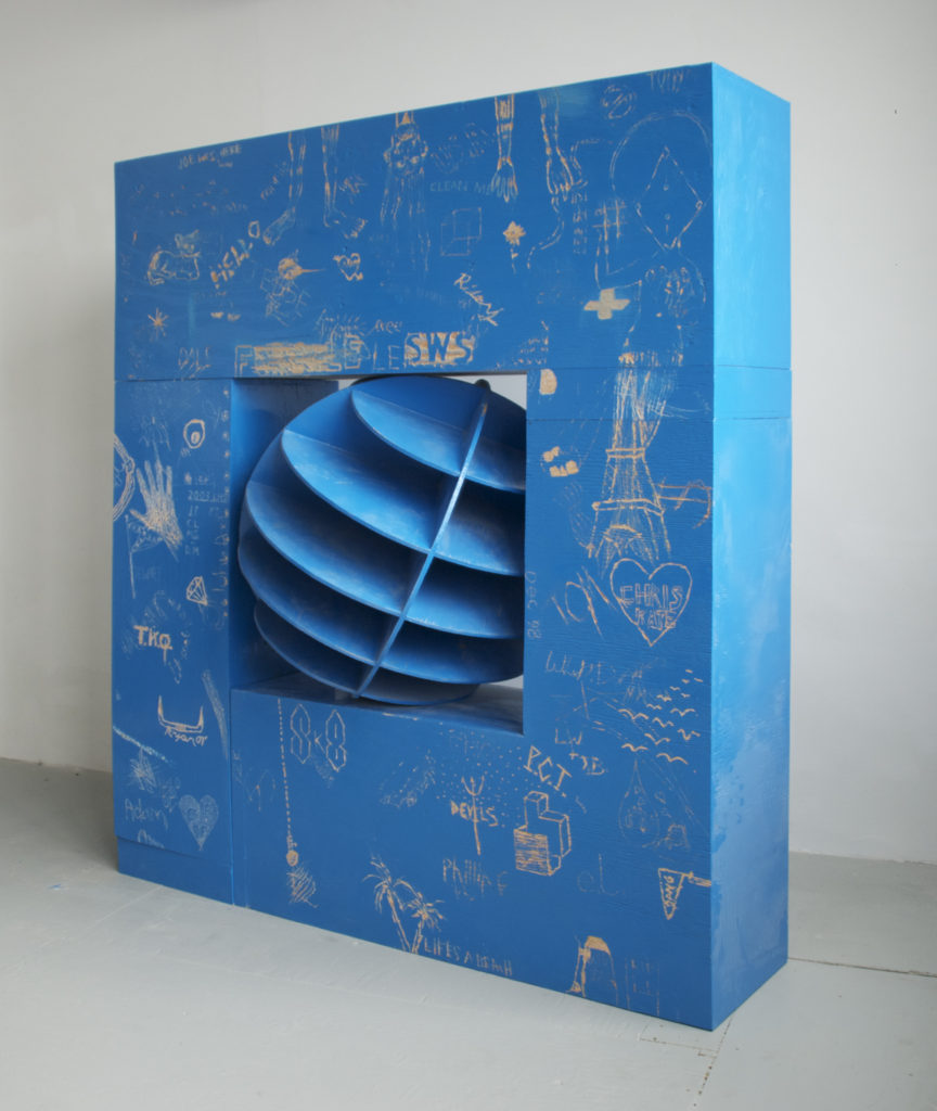 Corporate Leftovers 2011 sculpture by Aaron King wood, paint 60'' x 72'' x 15''