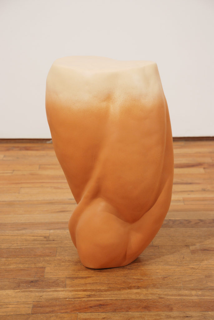 Untitled ( Wrestler's Leg) 2009 sculpture by Aaron King foam, magic sculpt, paint