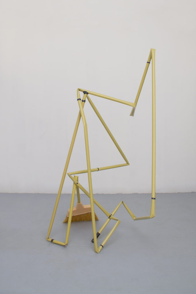 End to End (broom) 2014 sculpture by Aaron King metal, broom head, epoxy 72'' x 42'' x 40''