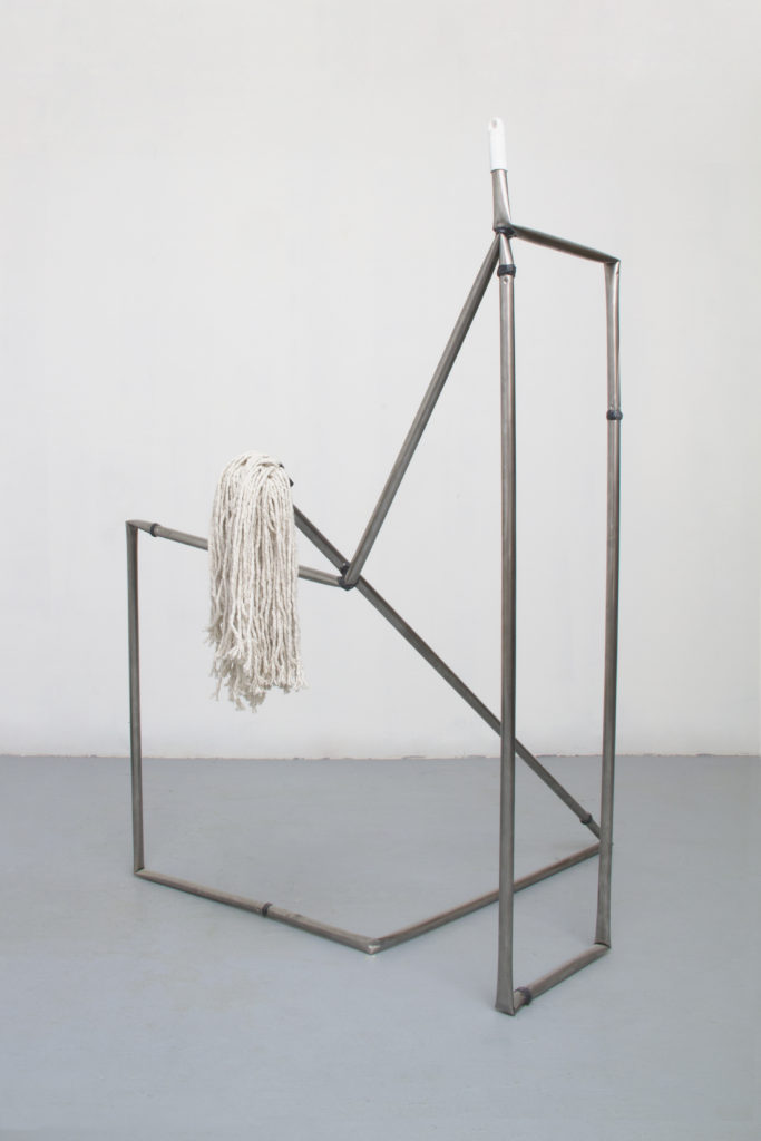 End to End(mop) 2014 sculpture by Aaron King metal, mop head, epoxy 52'' x 40'' x 36''